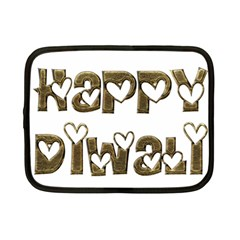 Happy Diwali Greeting Cute Hearts Typography Festival Of Lights Celebration Netbook Case (Small)