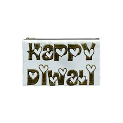 Happy Diwali Greeting Cute Hearts Typography Festival Of Lights Celebration Cosmetic Bag (Small)