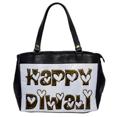 Happy Diwali Greeting Cute Hearts Typography Festival Of Lights Celebration Office Handbags