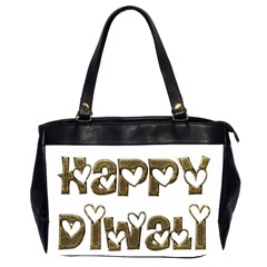 Happy Diwali Greeting Cute Hearts Typography Festival Of Lights Celebration Office Handbags (2 Sides)