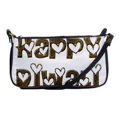 Happy Diwali Greeting Cute Hearts Typography Festival Of Lights Celebration Shoulder Clutch Bags