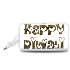 Happy Diwali Greeting Cute Hearts Typography Festival Of Lights Celebration Portable Speaker (White)