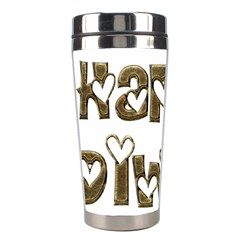 Happy Diwali Greeting Cute Hearts Typography Festival Of Lights Celebration Stainless Steel Travel Tumblers