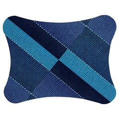 Fabric Textile Texture Blue Shades Jigsaw Puzzle Photo Stand (Bow)