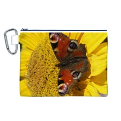 Yellow Butterfly Insect Closeup Canvas Cosmetic Bag (L)