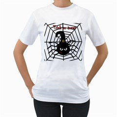 Halloween cute spider Women s T-Shirt (White) (Two Sided)