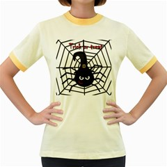 Halloween cute spider Women s Fitted Ringer T-Shirts