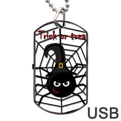 Halloween cute spider Dog Tag USB Flash (One Side)