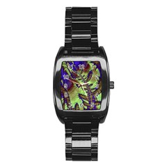 Freaky Friday, Blue Green Stainless Steel Barrel Watch