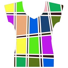 Abstract Women s V-Neck Cap Sleeve Top