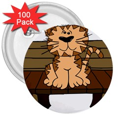 Cat Bench Sit Cute 3  Buttons (100 pack)