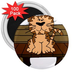 Cat Bench Sit Cute 3  Magnets (100 pack)