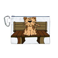 Cat Bench Sit Cute Canvas Cosmetic Bag (M)