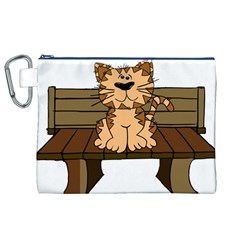 Cat Bench Sit Cute Canvas Cosmetic Bag (XL)