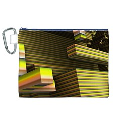 Cubic Blocks Abstract Cube Canvas Cosmetic Bag (XL)