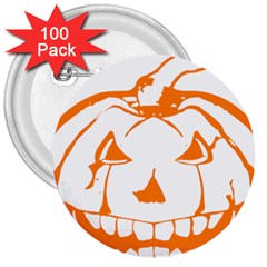 Halloween Pumpkin Scary Bad Scarry 3  Buttons (100 pack)