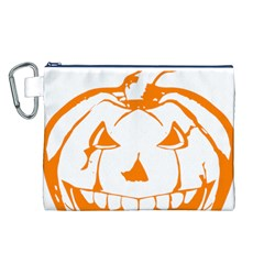 Halloween Pumpkin Scary Bad Scarry Canvas Cosmetic Bag (L)