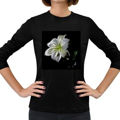 White Lily Flower Nature Beauty Women s Long Sleeve Dark T-Shirts