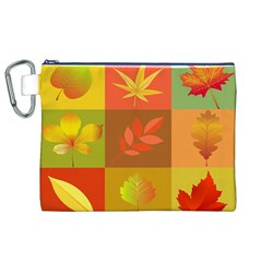 Autumn Leaves Colorful Fall Foliage Canvas Cosmetic Bag (XL)