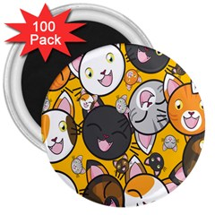 Cats Cute Kitty Kitties Kitten 3  Magnets (100 pack)