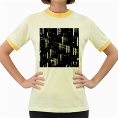 Black and white neon city Women s Fitted Ringer T-Shirts