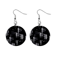 Black and white neon city Mini Button Earrings