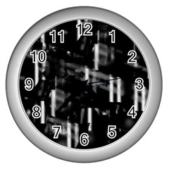 Black and white neon city Wall Clocks (Silver)