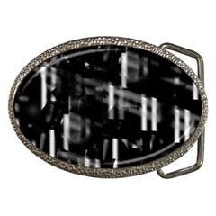 Black and white neon city Belt Buckles