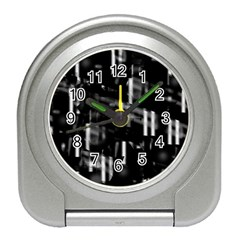 Black and white neon city Travel Alarm Clocks