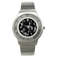 Black and white neon city Stainless Steel Watch
