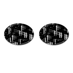 Black and white neon city Cufflinks (Oval)
