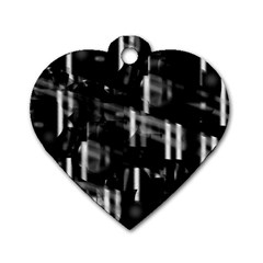 Black and white neon city Dog Tag Heart (One Side)
