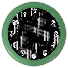 Black and white neon city Color Wall Clocks