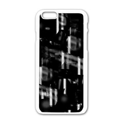 Black and white neon city Apple iPhone 6/6S White Enamel Case