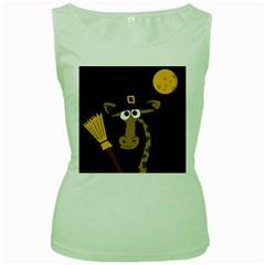 Halloween giraffe witch Women s Green Tank Top