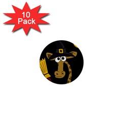 Halloween giraffe witch 1  Mini Buttons (10 pack)
