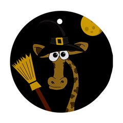 Halloween giraffe witch Round Ornament (Two Sides)