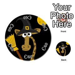Halloween giraffe witch Playing Cards 54 (Round)