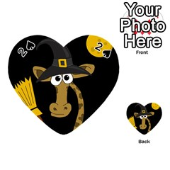 Halloween Giraffe Witch Playing Cards 54 (heart)