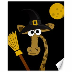 Halloween giraffe witch Canvas 11  x 14