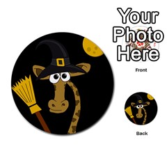 Halloween giraffe witch Multi-purpose Cards (Round)