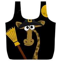 Halloween giraffe witch Full Print Recycle Bags (L)