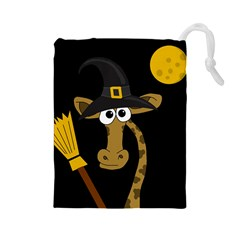 Halloween giraffe witch Drawstring Pouches (Large)