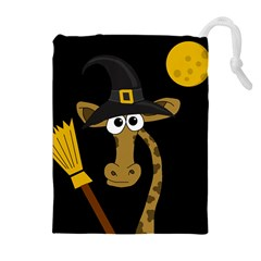 Halloween giraffe witch Drawstring Pouches (Extra Large)