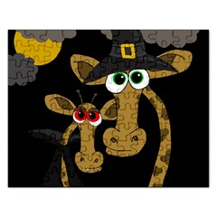 Giraffe Halloween party Rectangular Jigsaw Puzzl
