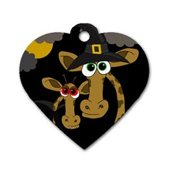 Giraffe Halloween party Dog Tag Heart (Two Sides)