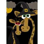 Giraffe Halloween party TAKE CARE 3D Greeting Card (7x5) Inside