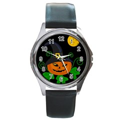 Halloween witch pumpkin Round Metal Watch