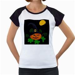 Halloween witch pumpkin Women s Cap Sleeve T