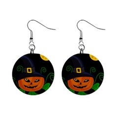Halloween witch pumpkin Mini Button Earrings